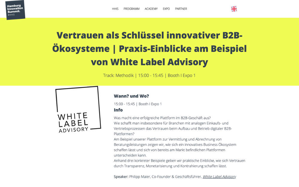 White Label Advisory auf dem HHIS 2021